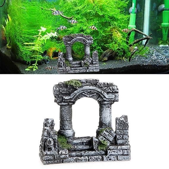 Hinmay Resina Roma piedra cuadrada pilar acuario paisaje pecera Decor bicolino tri-columnas: Amazon.es: Productos para mascotas