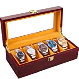Homfa Wooden Watch Box, 5 Slots Watch Display Case with Glass Top and Locking Clasp, Multi-Functional Storage Organizer…
