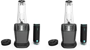 Nutri Ninja Blender with FreshVac Technology, 1100-Watt Auto-iQ Base, 2 Manual Speeds, and (2) Single-Serve FreshVac Cups with Lids (BL580), Dark Gray (2 Pack)