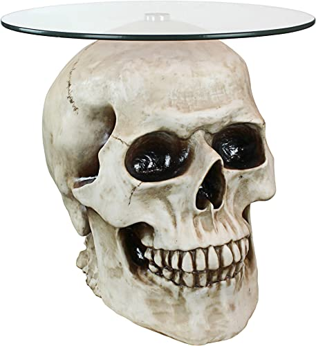 Design Toscano Lost Souls Gothic Skull Glass-Topped Table, White