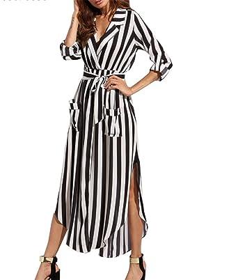 Henraly Women Shirt Striped Plus Size Ukraine Boho Robe Femme Sexy Vintage maxi dressS