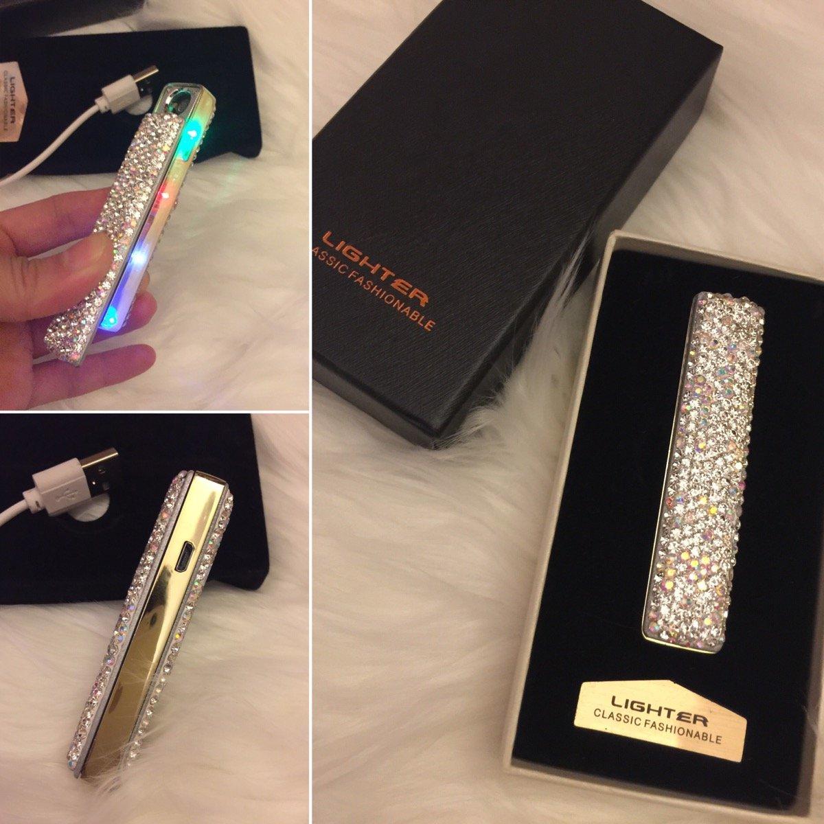 TISHAA Super Bling Rhinestone Slim Mini Slide USB LED Rechargeable Windproof Cigarette Lighter, Flameless, w Charging Cable
