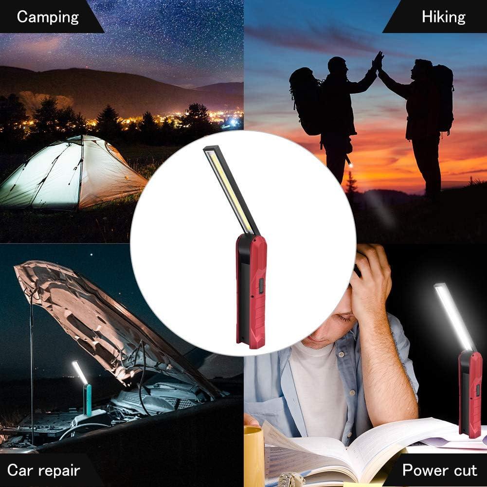 Linterna de Trabajo COB LED,Guiseapue USB Recargable L/ámpara de Inspecci/ón Port/átil y Plegable con 4 Modos,1000 L/úmenes,Rotaci/ón de 270/° y Base Magn/ética para Casa Auto Emergencia Reparacion,Rojo
