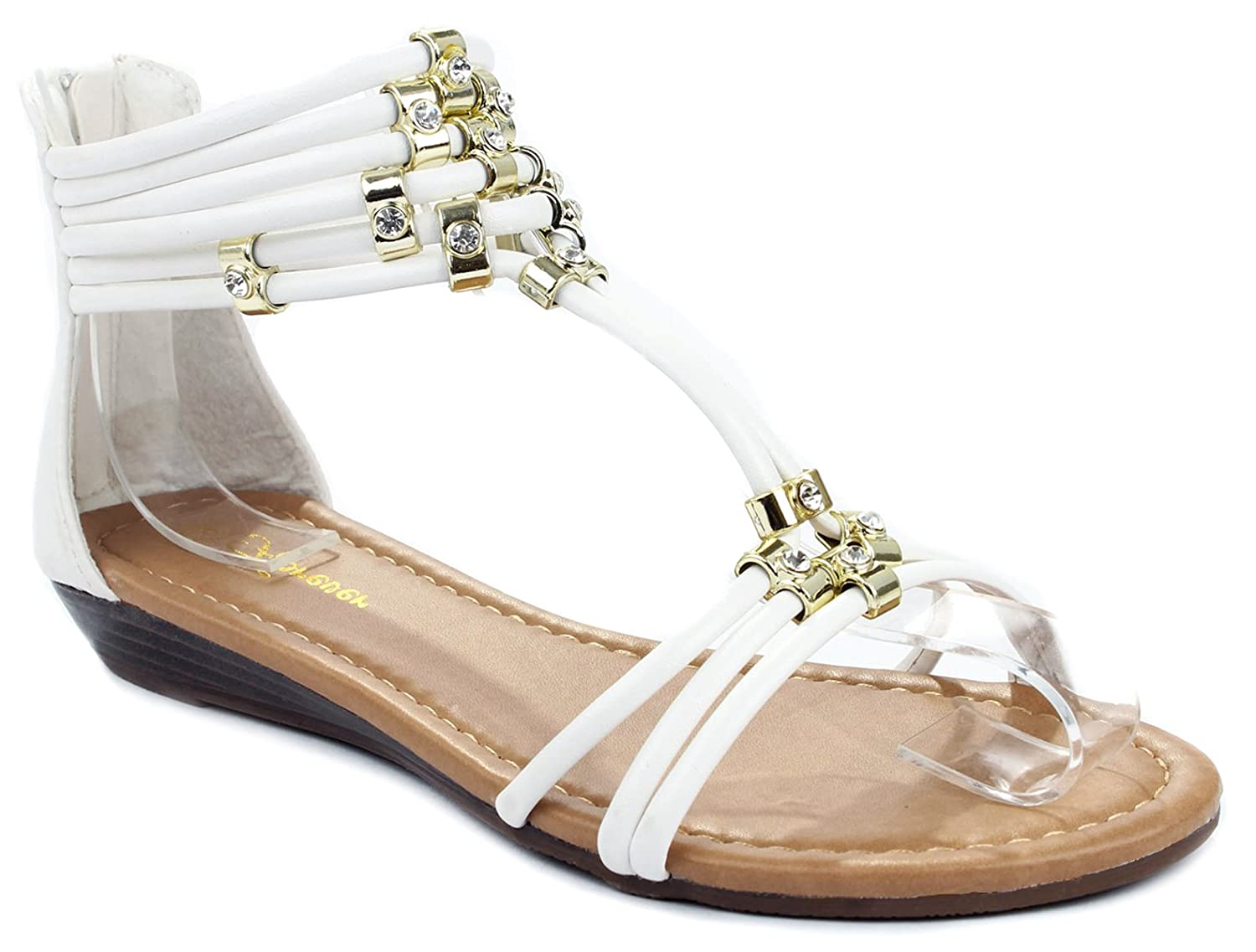 Filosia28 T-Strappy Cord Gold Accent Rhinestone Ankle Cuff Wedge Dress Sandals B00WTMQ9LG 6.5 B(M) US|White