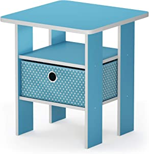 Furinno 11157LBL/LBL Andrey Bin Drawer Nightstand End Table, 1-Pack, Light Blue