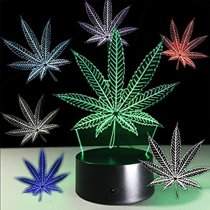 165c03e2bea0 Amazon.com  HaoLin Marijuana Leaf 3D Illusion Lamp Cananbis Weed Optical  Visual Night Light Room Party Deco Lighting  Home   Kitchen