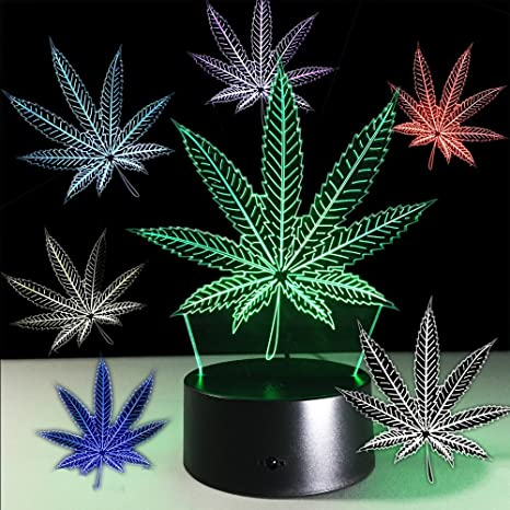 Admirable Haolin Marijuana Leaf 3D Illusion Lamp Cananbis Weed Optical Visual Night Light Room Party Deco Lighting Download Free Architecture Designs Embacsunscenecom