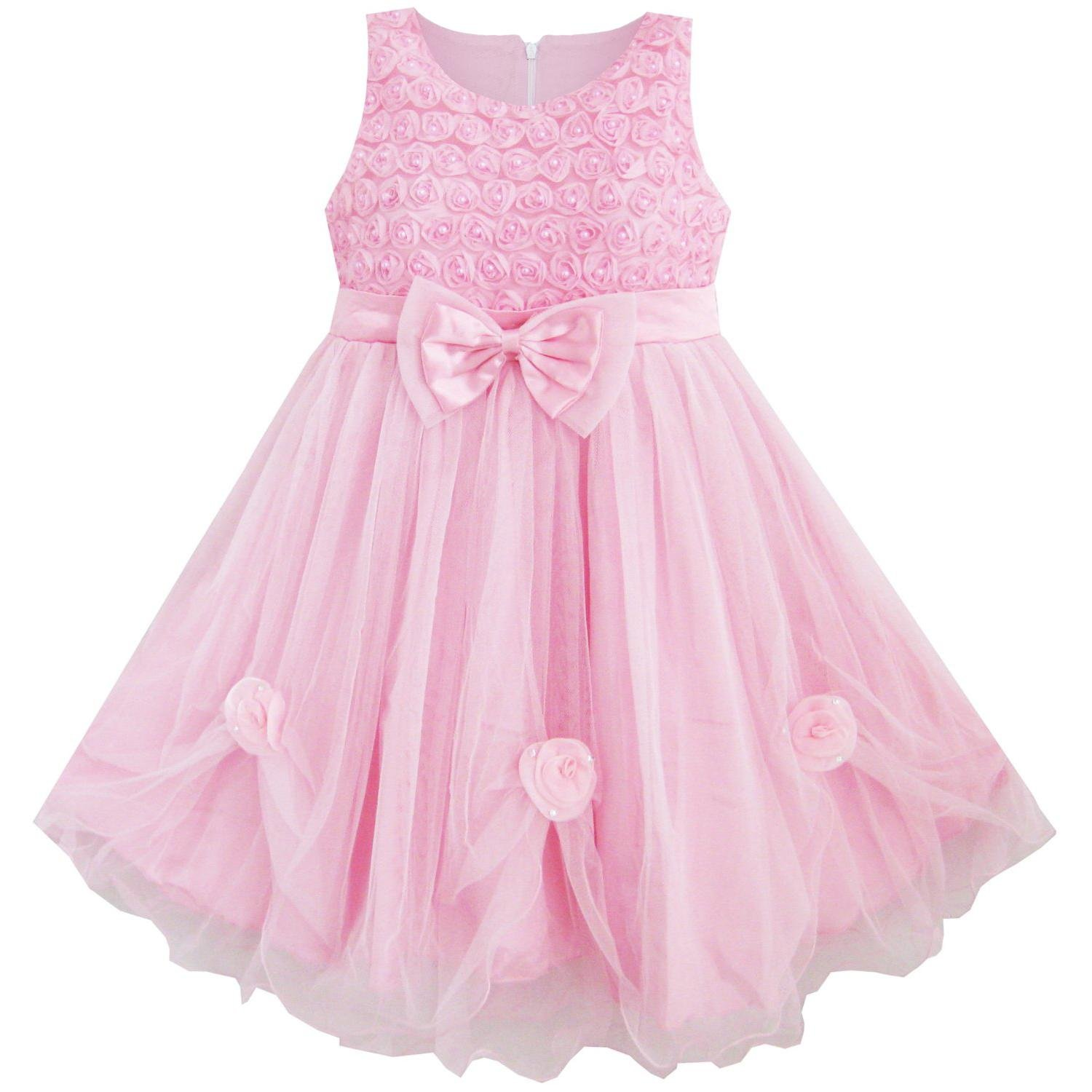 Amazon Sunny Fashion Girls Dress Pink Rose Pageant Tull