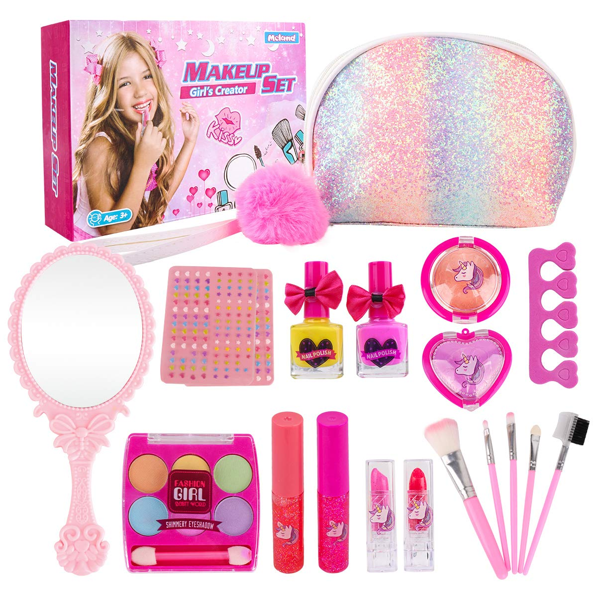 Girl Makeup Kit - Kids Real Washable Play Makeup Toy for Toddler Gifts Age 2 3 4 5 6 7, Child Pretend Princess Cosmetics Set with Glitter Purse, Nail Polish, Make up Brush, Eyeshadow, Lip Gloss, Blush by Meland