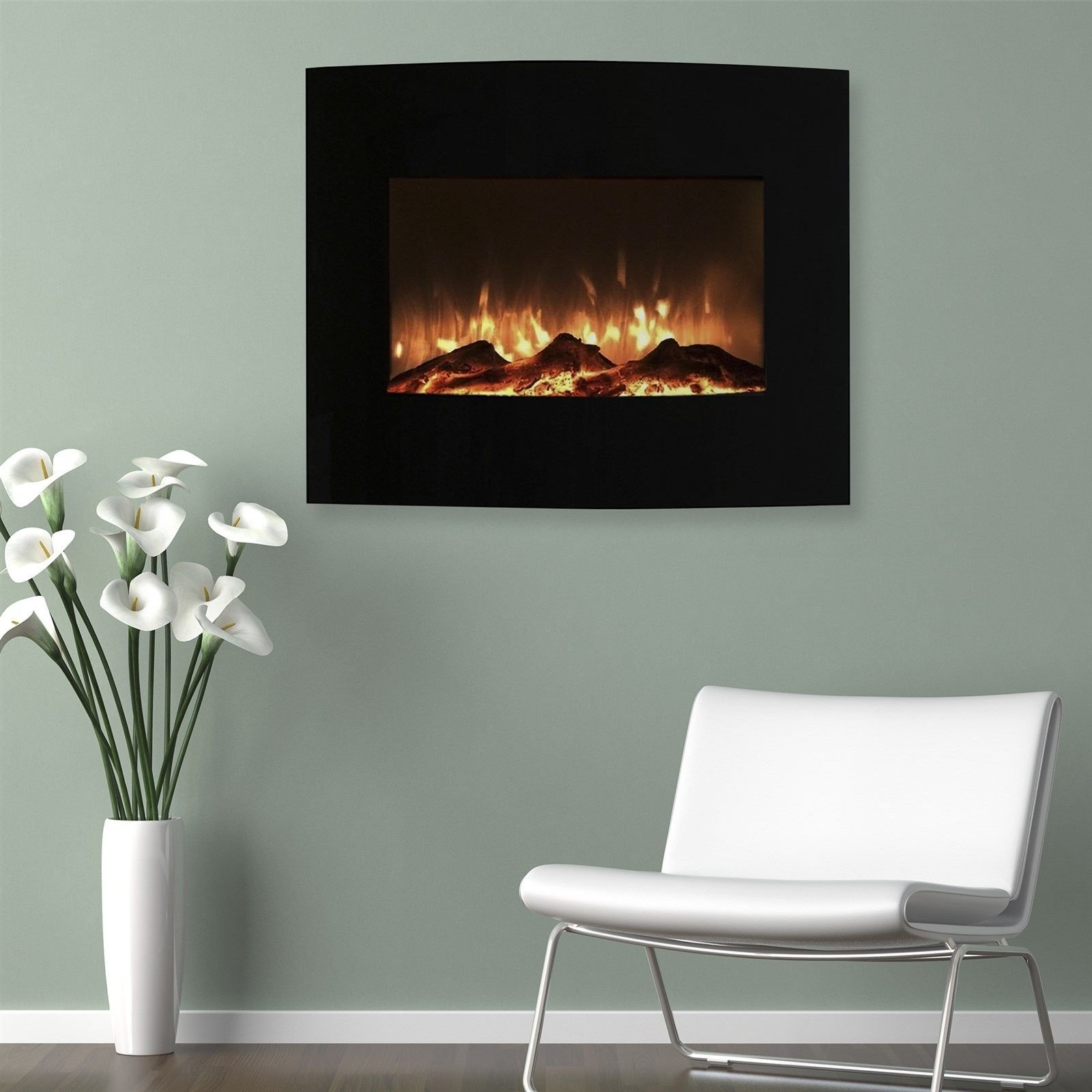 Mini Curved Black Fireplace Wall Mount & Floor Stand 25 x 20 Inches Remote by Love+Grace (Image #1)