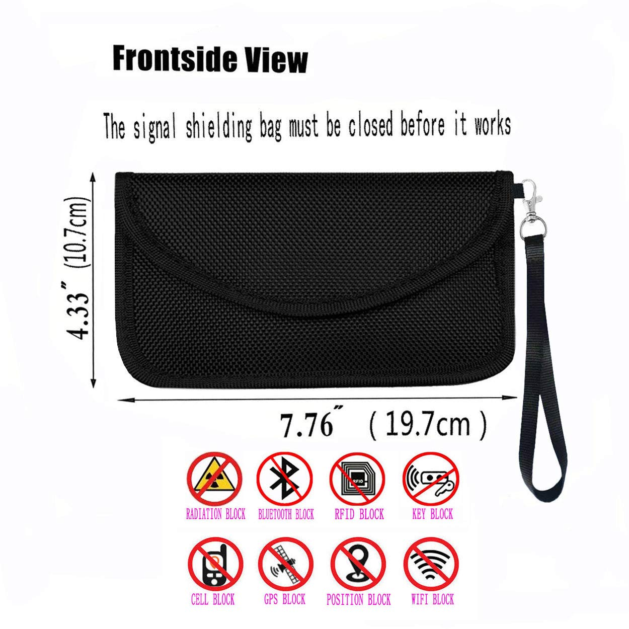 Faraday Bag,100/% Anti-Spying Anti-Tracking GPS RFID Signal Blocker Bag for Cell Phone Privacy Protection and Car Key FOB, Healthy Handset Privacy Protection Data Security /& Travel.