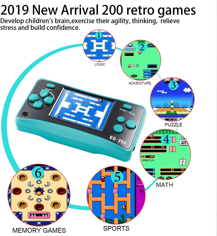 2.5 Pulgadas 200 Juegos cl/ásicos E-WOR Consola de Juegos Retro Reproductor de Videojuegos port/átil Arcade Consola de Juego de Mano integrada para Adultos Soporte para Reproductor de TV 8 bits