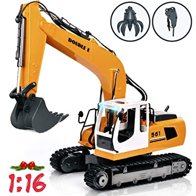 DOUBLE E 17 Channel Full Functional RC Excavator Metal Shovel Remote Control Construction Tractor with 2 Bonus Drill and Grasp: Toys & Games