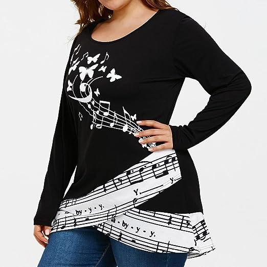 Camisa de Manga Larga para Mujer Moda Blouses Impresión de la Nota Musical de la Mariposa Tops Estampados Camisa de Entrenamiento Camisa Pulóver Talla ...