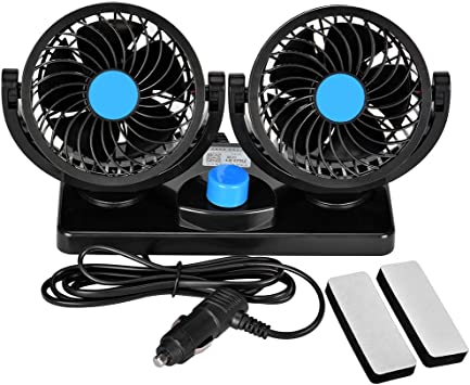 Towinle Auto Ventilator Auto Kfz Lüfter Mit 2 Geschwindigkeiten Und 360 Grad Drehung Doppellüfter Einstellbare Ventilatoren 8w 15w 12v Auto