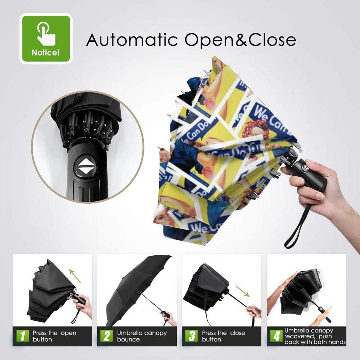 Auto Open//Close Compact Umbrella,Gold Wheels And Stripes Automatic Folding Travel Umbrella Ergonomic Non-Slip Handle