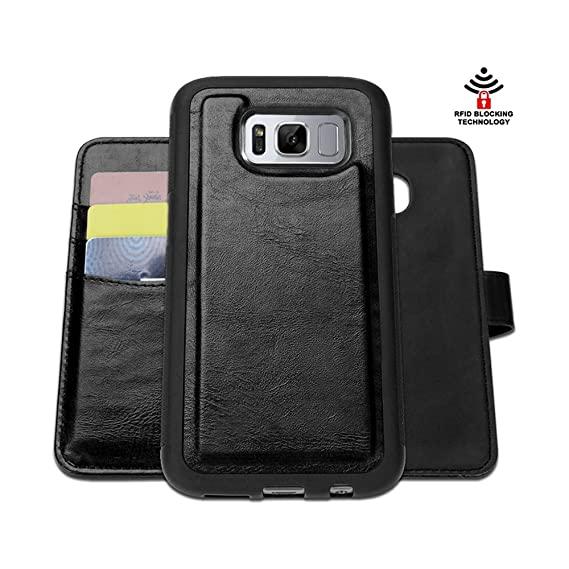 size 40 8d7ad e61d2 SHANSHUI Wallet Case Compatible with Samsung Galaxy S8 Plus, Magnet RFID  Blocking Wallet Credit&ID Card Holder Flip Cover (Black)