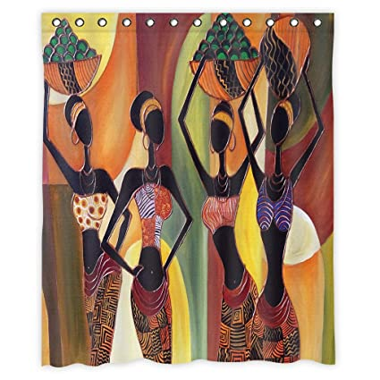 Mugod African Women Shower Curtain Decor By, Four Sexy African Womens With  Beautiful Dress Dance