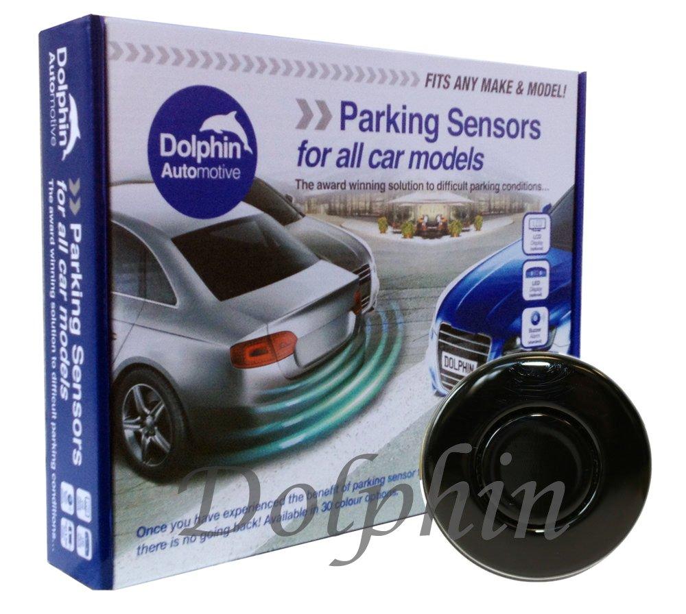 Dolphin DPS400 Reverse Parking Sensors Auto Express Award Winning 4 Ultrasonic Radar Sensors Kit Audio Alert System Matt & Gloss Black +30 More Colours (Gloss Black) Dolphin Automotive