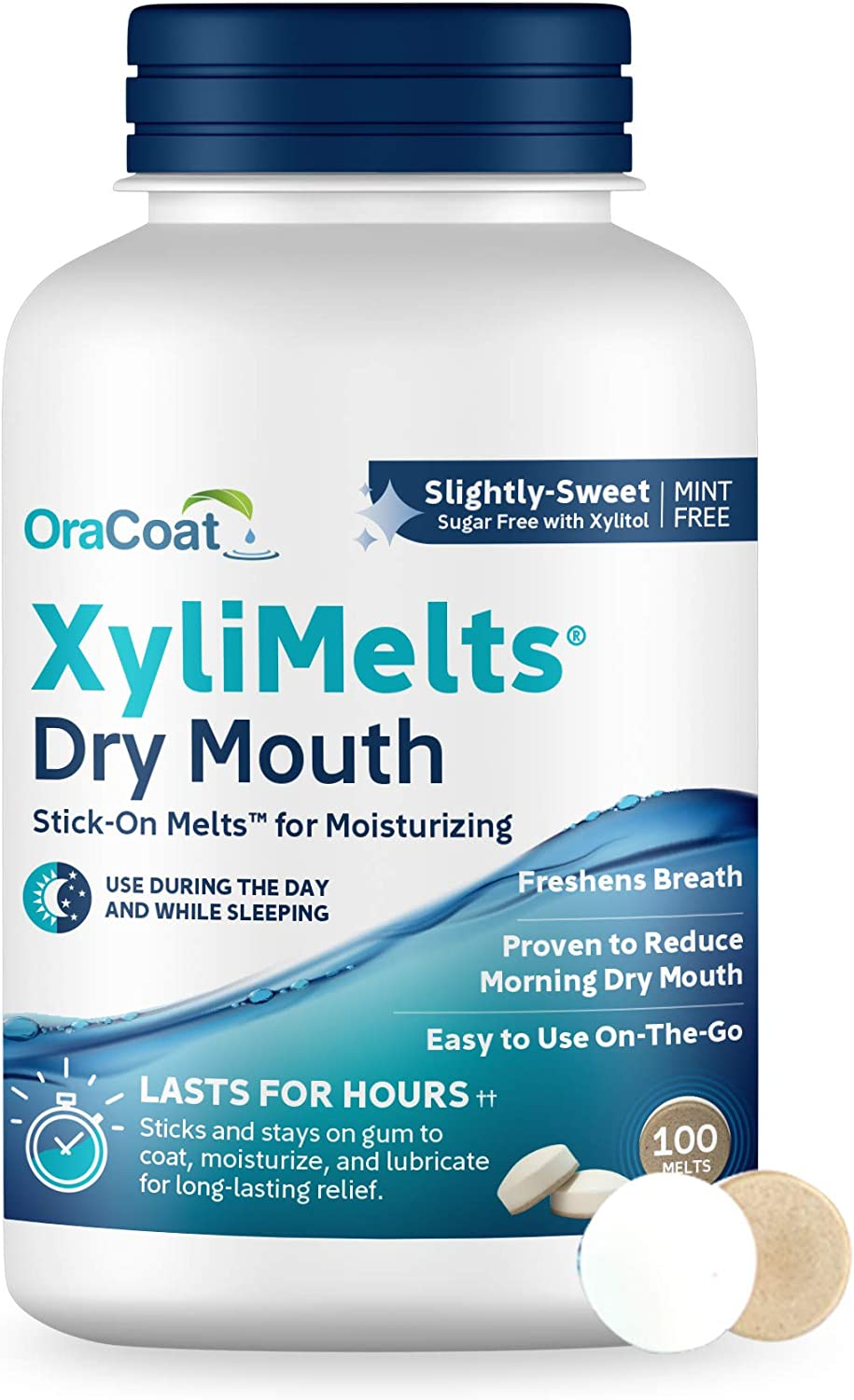 OraCoat XyliMelts Dry Mouth Relief Oral Adhering Discs Slightly Sweet with Xylitol, for Dry Mouth, Stimulates Saliva, Non-Acidic, Day and Night Use, Time Release for up to 8 Hours, 100 Count.