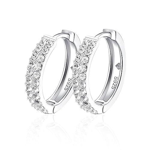 YOURDORA Mujer 925 Plata de Ley Cristales de Swarovski Pendientes Tous Aretes Aro Medio de 18mm