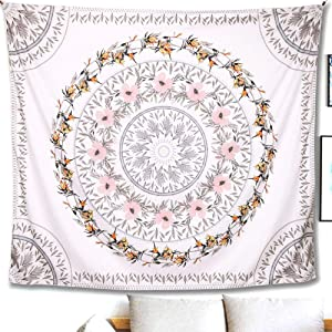 Indian Tapestry Mandala Wall Hanging Sketched Floral Medallion Bohemian Decor Psychedelic Intricate Flower Wall Decor Beach Throw Bedspread Tapestries for Bedroom (59.1 x 51.2 inch, Mauve)