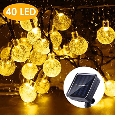 B-right Solar String Lights Outdoor, 40 LED 25ft Solar Powered Crystal Ball String Lights Waterproof for Halloween, Christmas, Home, Patio, Garden, Wedding and Party : Garden & Outdoor