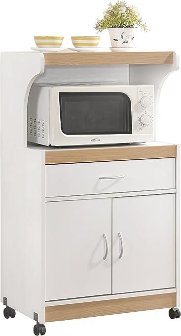 hodedah import microwave kitchen cart white