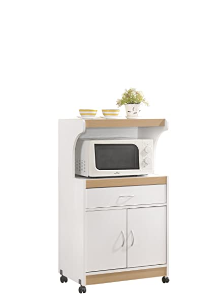 HODEDAH IMPORT Hodedah Microwave Kitchen Cart, White