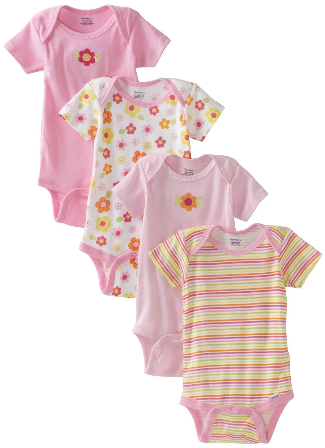12-18 months Gerber Short Sleeve Onesies Girls Daisy Design 4 Pack