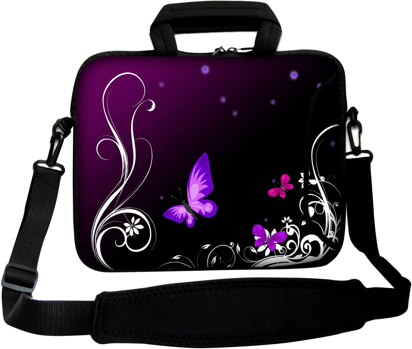 Laptop Shoulder Bag Women Neoprene Messenger Case for 16 17 17.3 17.4 inch Notbook PC (PURPLE)
