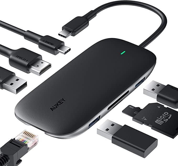 AUKEY USB C Hub 8 en 1 Adaptador USB Type C 4K HDMI, Ethernet RJ45 de 1 Gbps, PD 100W, 2 USB 3.0, 1 USB 2.0, SD y TF para MacBook DELL XPS Chromebook Samsung S9 (Space Gray)