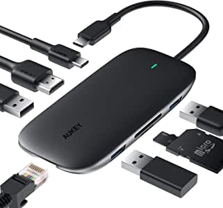 AUKEY USB C Hub 8-in-1 Type C Adapter with Ethernet Port, 4K USB C to HDMI, 2 USB 3.0 and 1 USB 2.0, 100W USB C Power Delivery Charging, SD/TF Card for MacBook Pro/Air(Thunderbolt 3), Chromebook Pixel