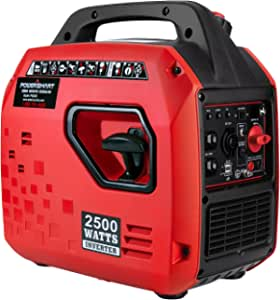 Powered Portable Inverter Generator,2500W Super Quiet Generator,Fuel Shut Off,Gas Generator for Outdoors Camping Travel Hunting Emergency,CARB Compliant Red/Black, PS5020-H