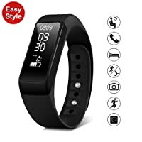 Smart Fitness Tracker Watch - SMBOX I5Plus (2018 New Version) IPX67 Waterproof, Detachable Strap Activity Tracker, Step Calories Counters, Sleep Monitor, Call / SMS Reminder, Fitness Trackers USB Charging For Women Men Kids (Black&Blue)