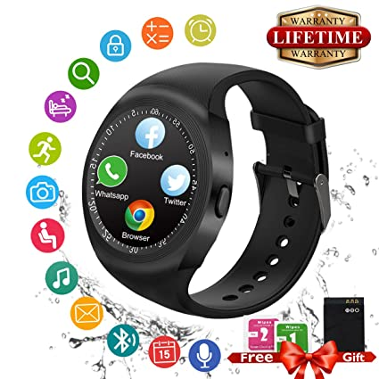 Reloj Inteligente, Bluetooth Smart Watch Android Impermeable Smartwatch con SIM/TF Ranura Monitor de Sueño, Podómetro, Facebook WhatsApp Pantalla ...