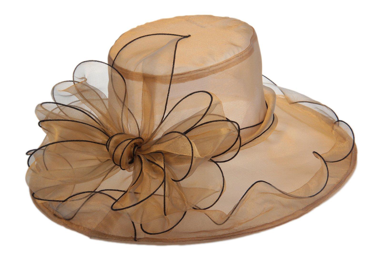 Dantiya Women's Organza Church Kentucky Derby Big Bowknot Fascinator Bridal Cap British (Gold) by Dantiya (Image #3)