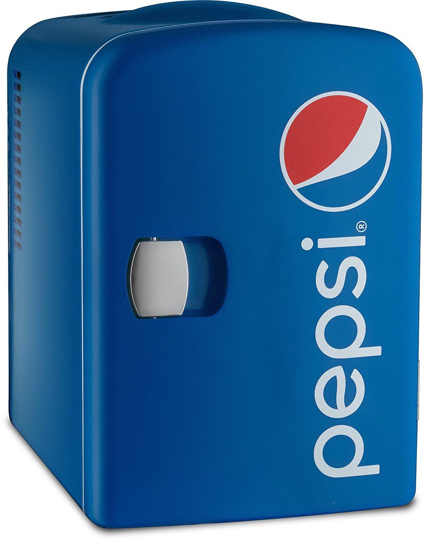 Pepsi GMF660 Portable Pepsi 6 Can Mini Fridge Cooler & Warmer - Home ,Office, Car or Boat - AC & DC - Blue - 110/120V Gourmia