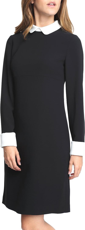 Caramelo, Vestido con Cuello Camisa Y Puños Fantasía, Mujer · Negro, Talla 54: Amazon.es: Ropa y accesorios
