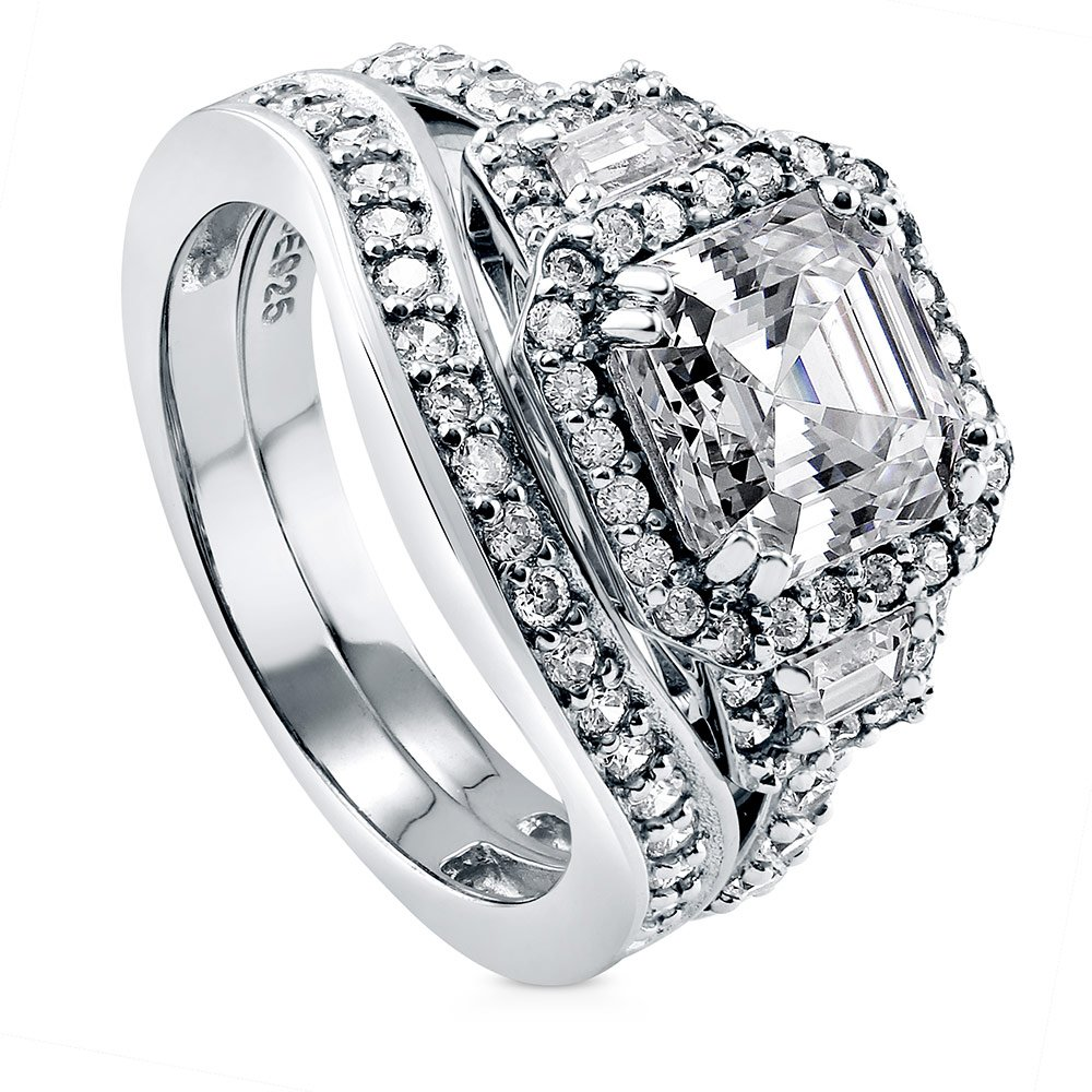 BERRICLE Rhodium Plated Silver Asscher Cut Cubic Zirconia CZ Halo Art Deco Engagement Ring Set Size 7