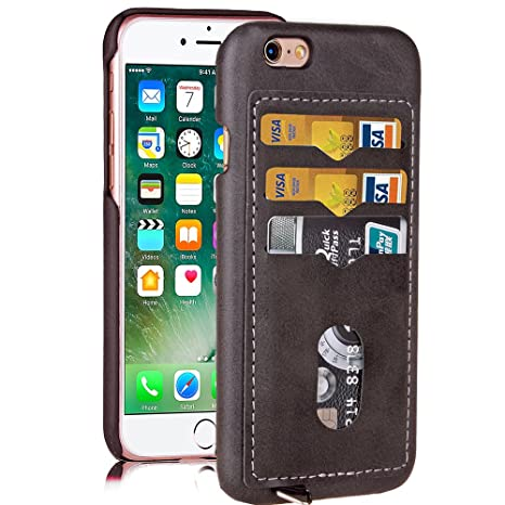 1a2274debc iPhone6 ケース 背面 カード2枚収納 / iPhone6S ケース 高級PU アイフォン6 レザー ケース
