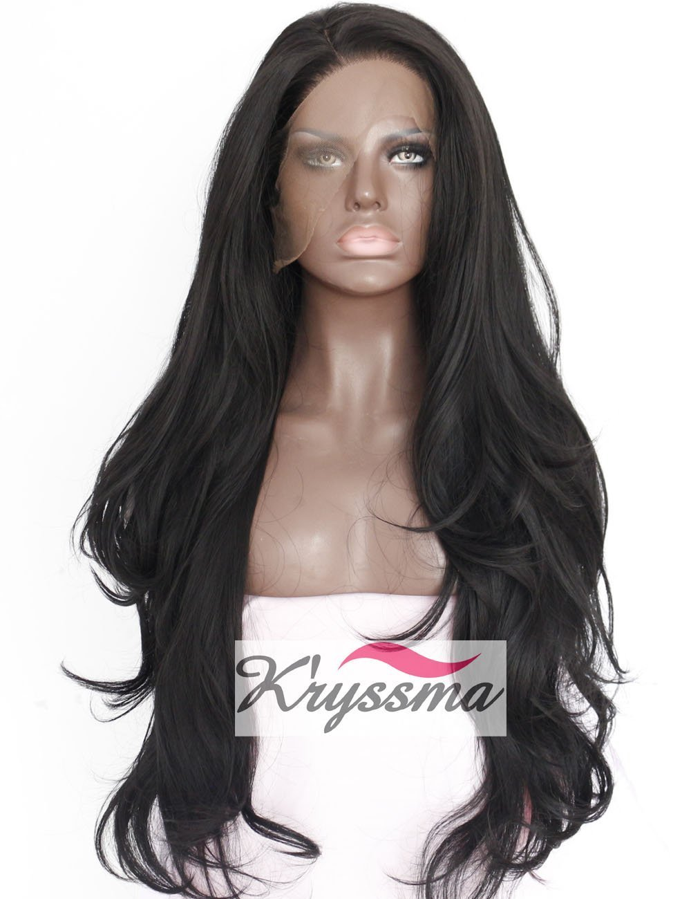 K'ryssma Synthetic Lace Front Wig for Women Natural Wave Long Wigs Heat Resistant Fiber Hair Black #1b 22 Inches SLFW15Y08M26D-BS22