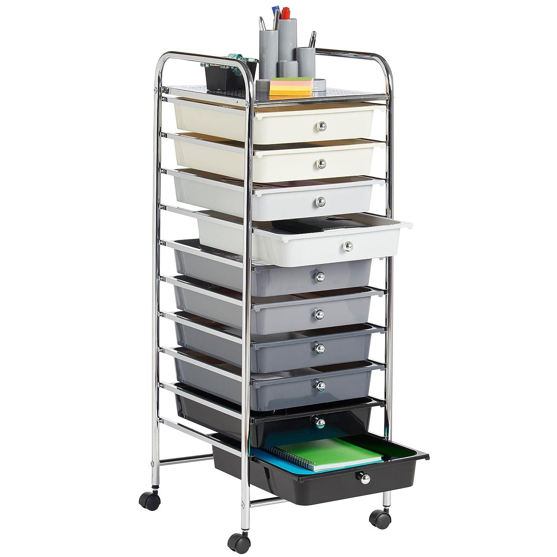 oficina o sal/ón VonHaus/ Monochrome 10 Drawer /Carrito de almacenamiento con 10/cajones para casa