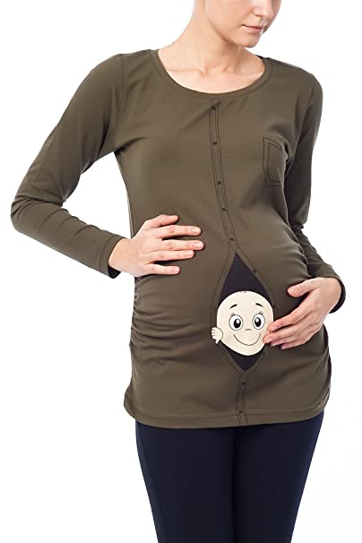 Divertido Moda premamá camiseta suéter Embarazo Regalo bebé Camisa - (S, Caqui)