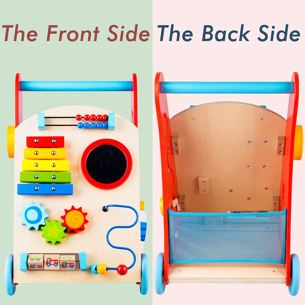 cossy Wooden Baby Walker Toddler Toys for 18 Month, Push and Pull Toy Learning Walking Toys by cossy (Image #2)