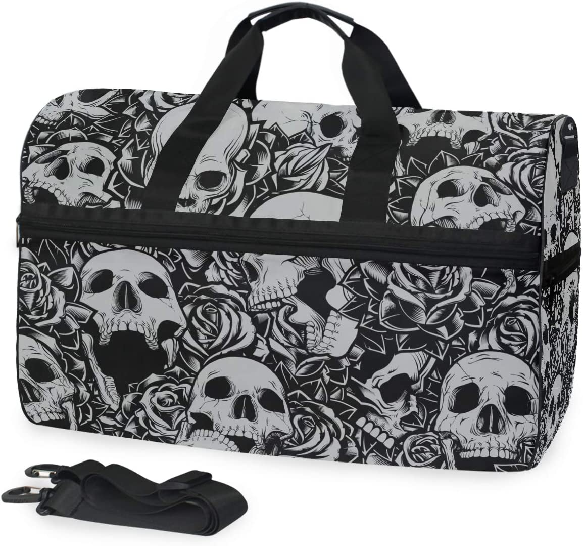 TFONE Skull Day of The Dead Duffel Bag Sports Gym Weekend Bags with Shoe Compartmen