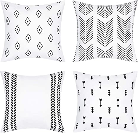 Yastouay Geometric Throw Pillow Covers Modern Decorative Pillow Cover Set Of 4 Throw Pillow Case Cushion Covers For Sofa Couch Bed And Car Home Kitchen