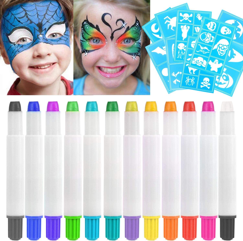 HOWAF 12 Colores Pinturas Faciales y Corporales, Lapices Faciales - Kit de Decoración de Halloween, Cosplay de Maquillaje Navidad y Fiestas - No Tóxico, Adecuado para Embarazadas y Niños