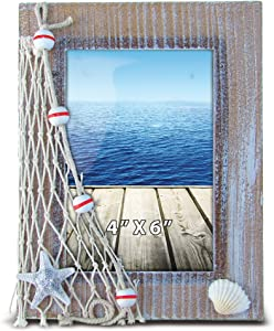 Puzzled Wooden Picture Frame with Starfish Seashell & Fishing Net, 4 x 6 Inch Sculptural Photo Holder Intricate Wood Art Handcrafted Tabletop Accent Nautical Beach Themed Home Décor Accessory