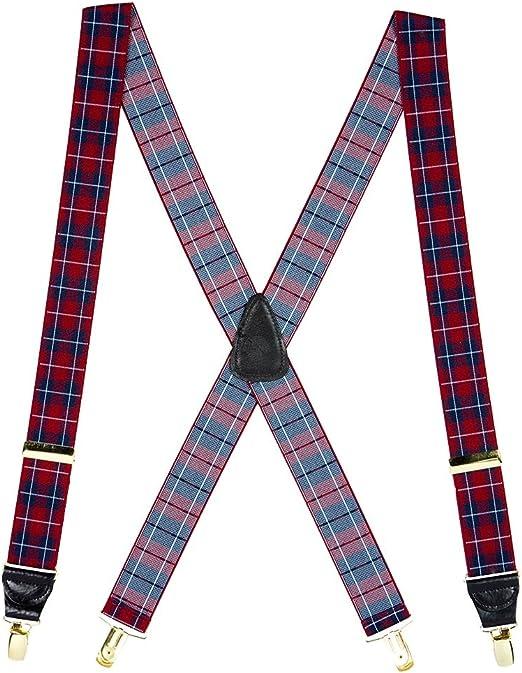 Striped Y-Back Drop Clip Suspenders 1 Inch Wide